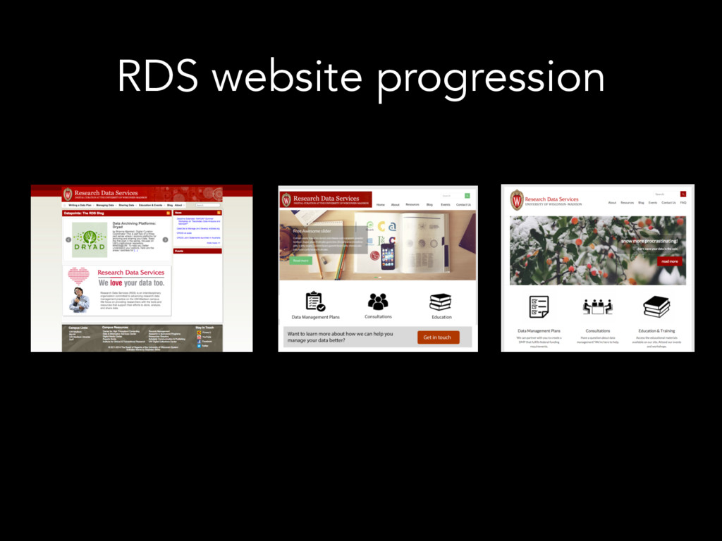 RDS website progression