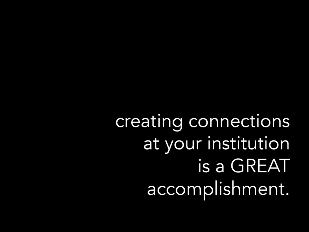 creating connections at your institution is a G...
