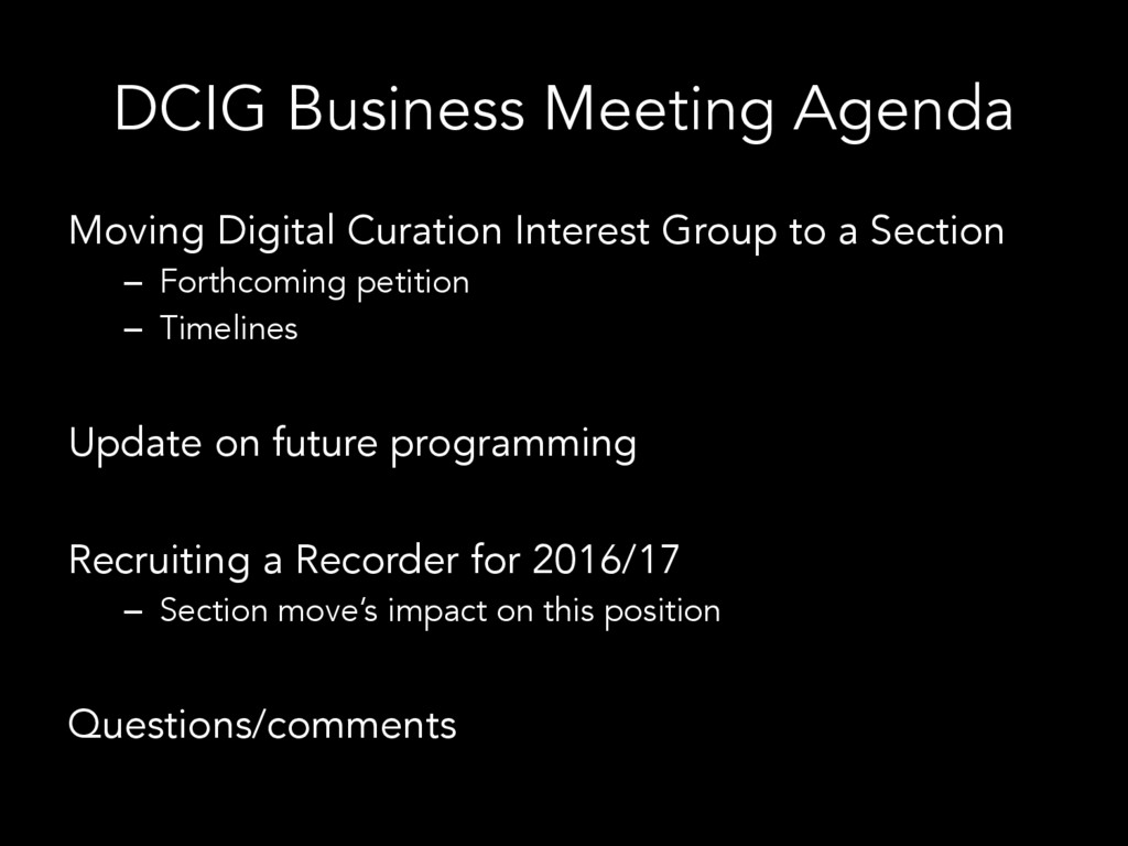 DCIG Business Meeting Agenda Moving Digital Cur...