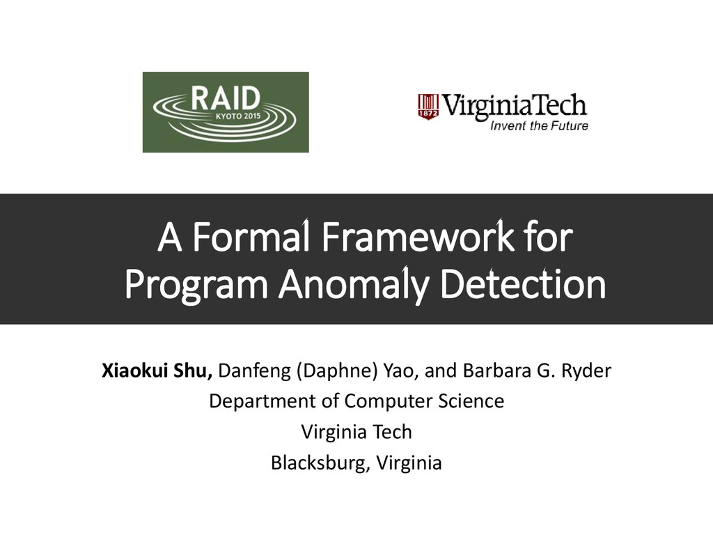 A Formal Framework for Program Anomaly Detectio...