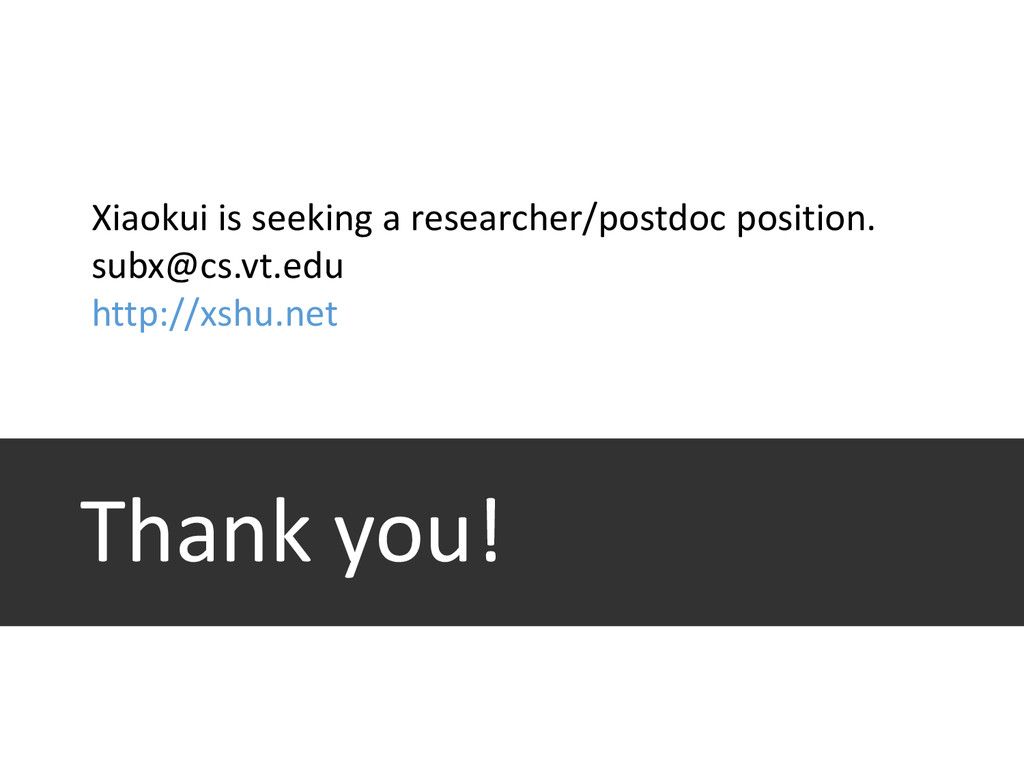 Thank you! Xiaokui is seeking a researcher/post...