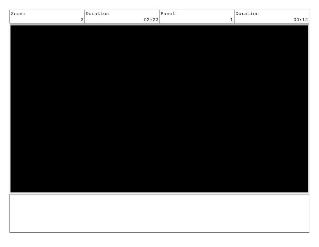 Scene 2 Duration 02:22 Panel 1 Duration 00:12