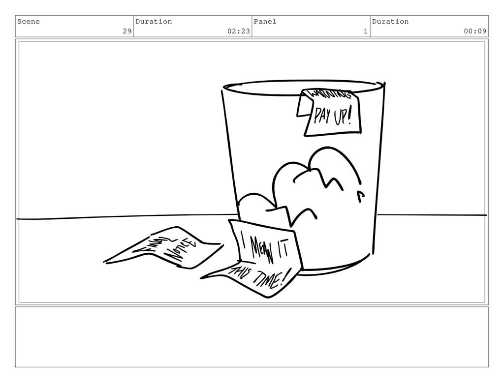Scene 29 Duration 02:23 Panel 1 Duration 00:09