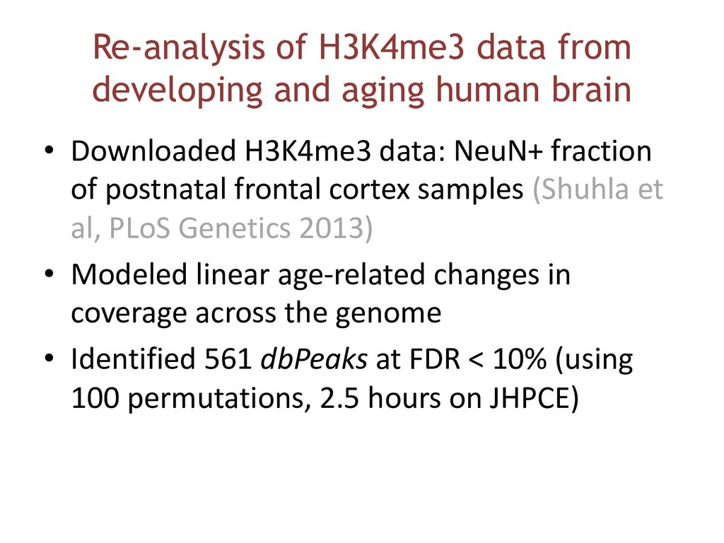 Re-analysis of H3K4me3 data from developing and...