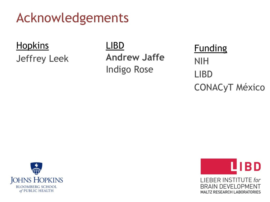 Acknowledgements Hopkins Jeffrey Leek LIBD Andr...
