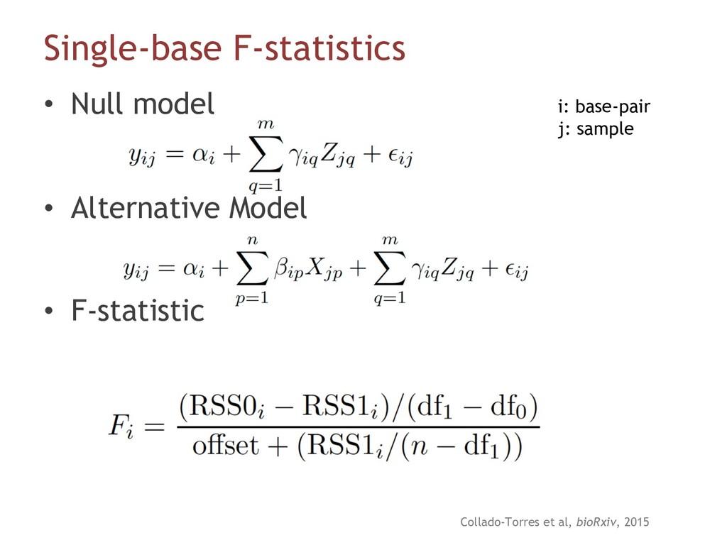 Single-base F-statistics • Null model • Alterna...