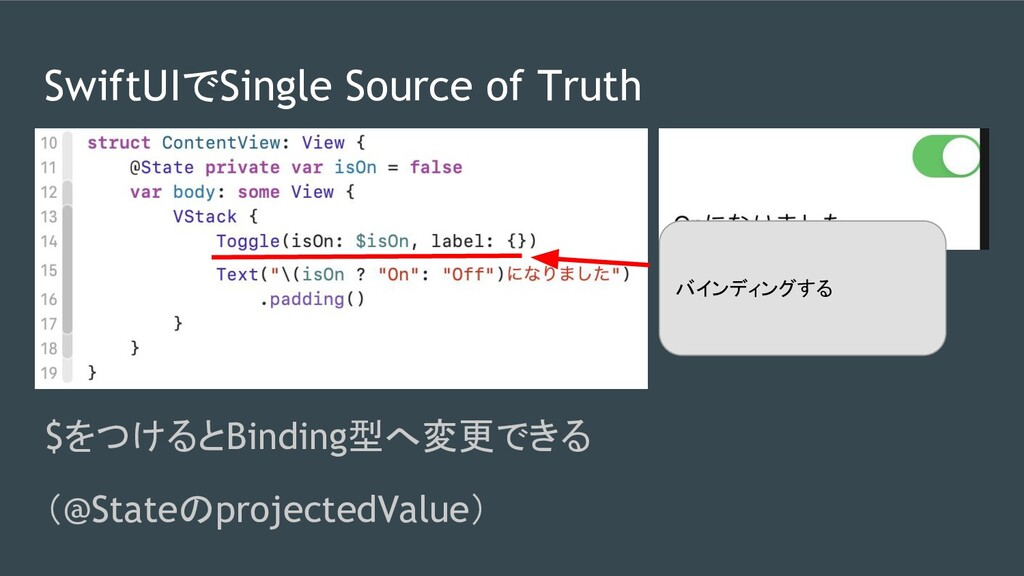 SwiftUIでSingle Source of Truth $をつけるとBinding型へ変...