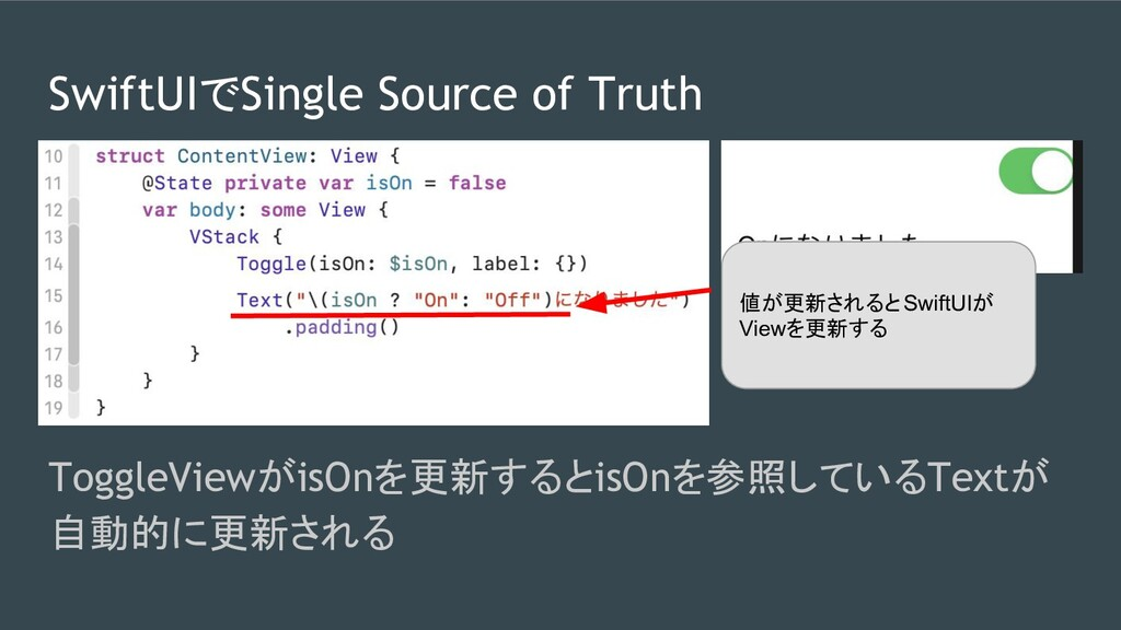 SwiftUIでSingle Source of Truth ToggleViewがisOnを...