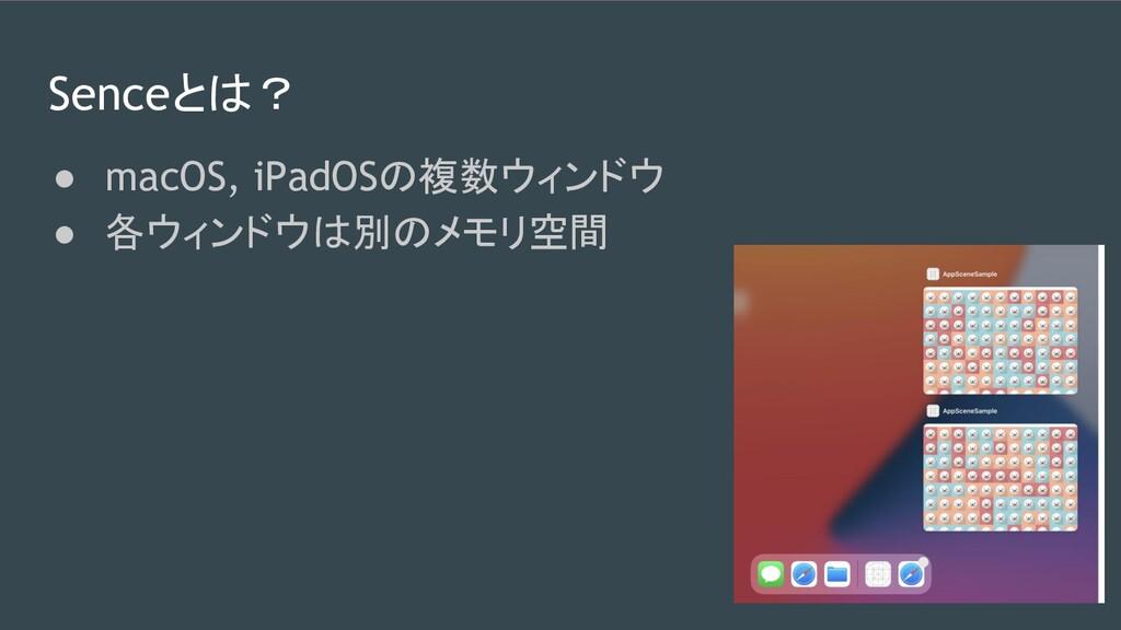 Senceとは? ● macOS, iPadOSの複数ウィンドウ ● 各ウィンドウは別のメモリ...