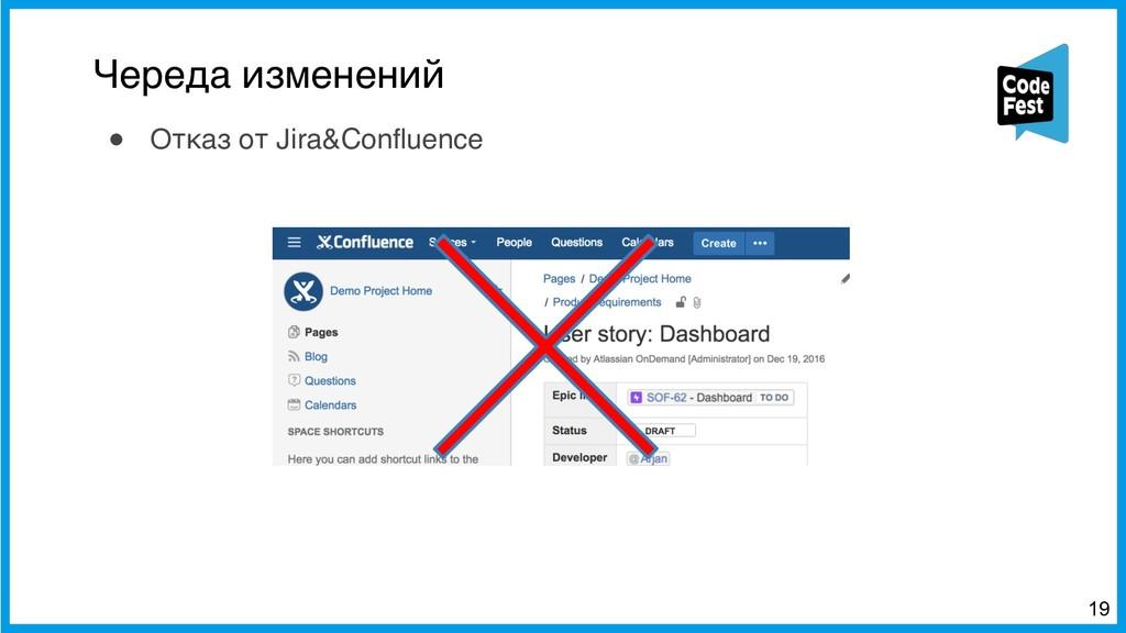 Череда изменений !19 ● Отказ от Jira&Confluence
