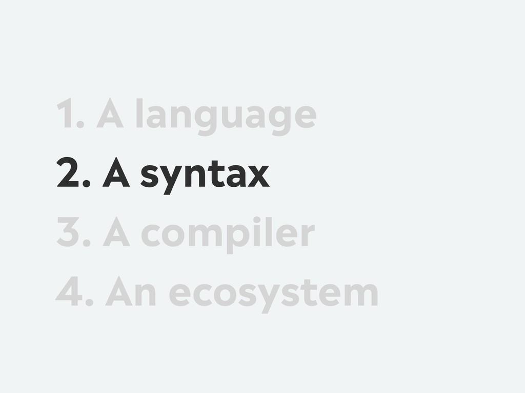 1. A language 2. A syntax 3. A compiler 4. An e...
