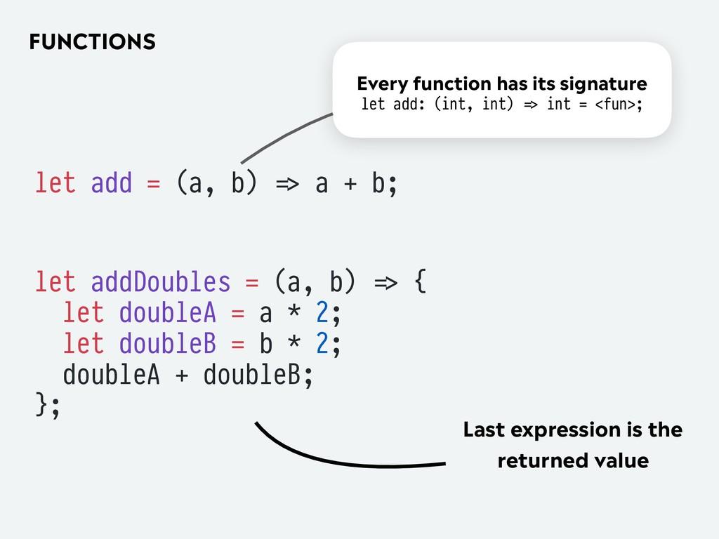 FUNCTIONS let add = (a, b) '=> a + b; let addDo...