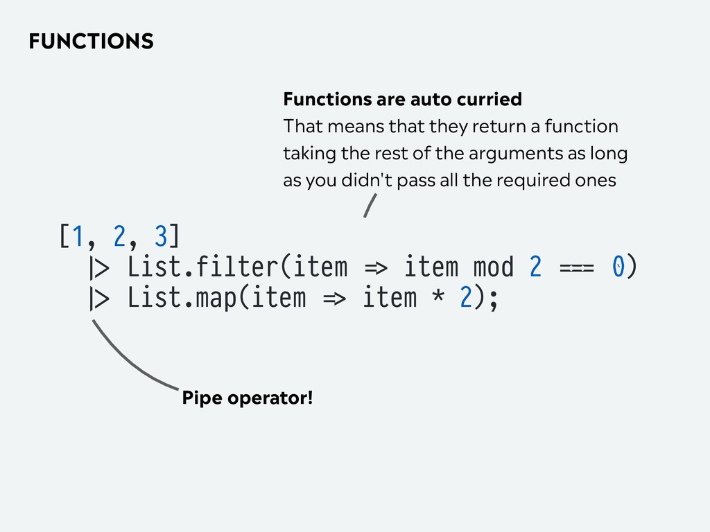 FUNCTIONS [1, 2, 3] 2|> List.filter(item '=> it...