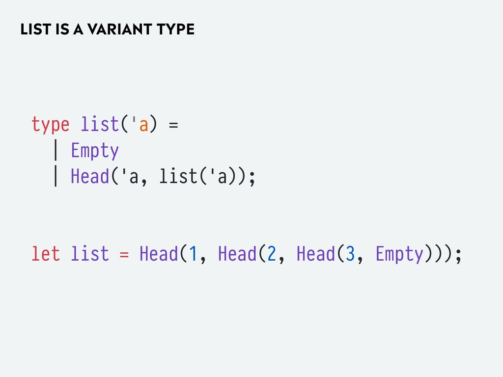 LIST IS A VARIANT TYPE type list('a) = | Empty ...