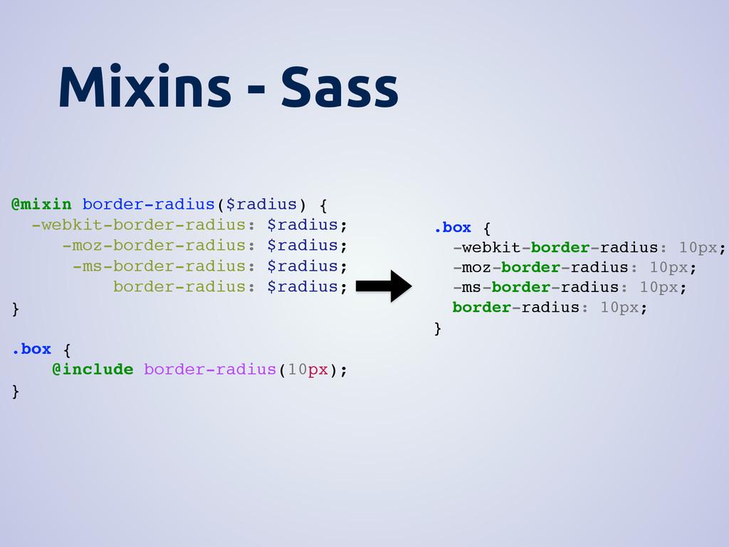 Mixins - Sass @mixin border-radius($radius) { -...