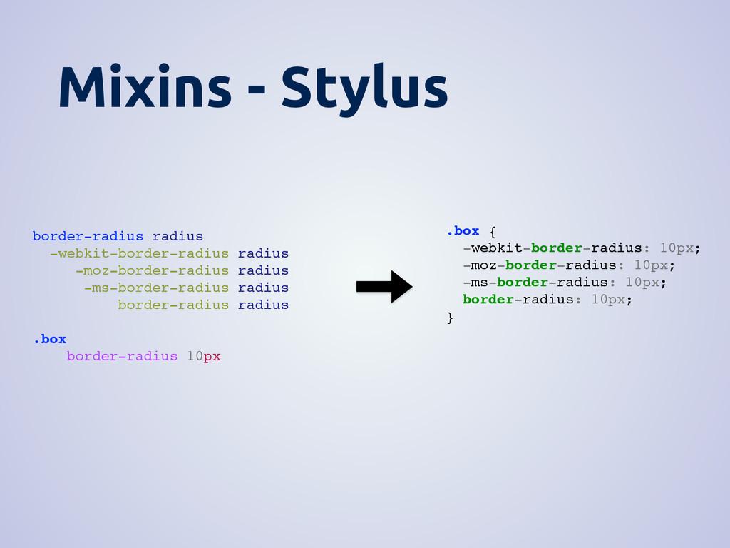 Mixins - Stylus border-radius radius -webkit-bo...