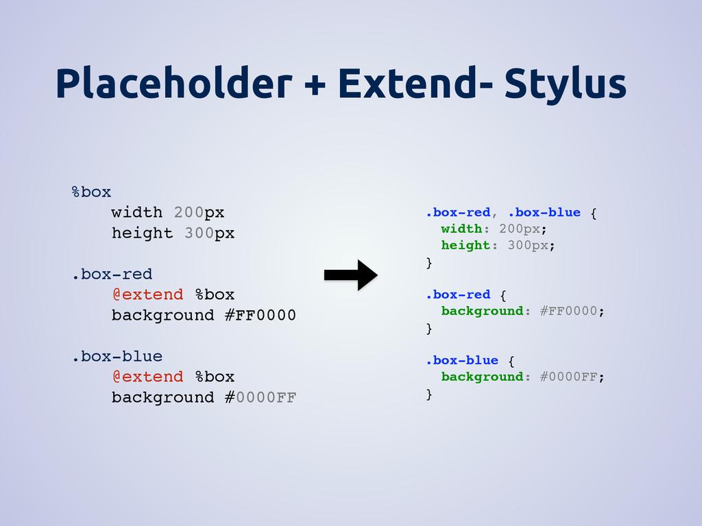 Placeholder + Extend- Stylus .box-red, .box-blu...