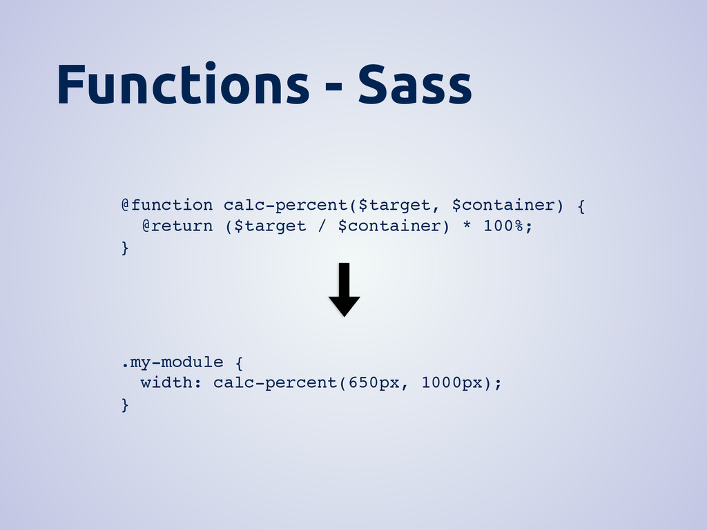 Functions - Sass @function calc-percent($target...