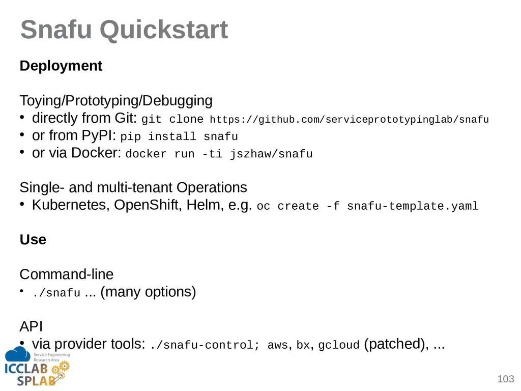 103 Snafu Quickstart Deployment Toying/Prototyp...