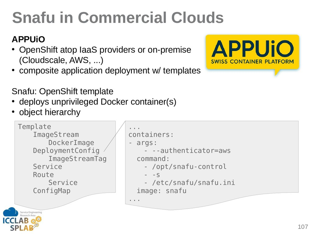 107 Snafu in Commercial Clouds APPUiO ● OpenShi...