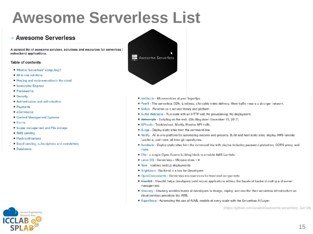 15 Awesome Serverless List [https://github.com/...
