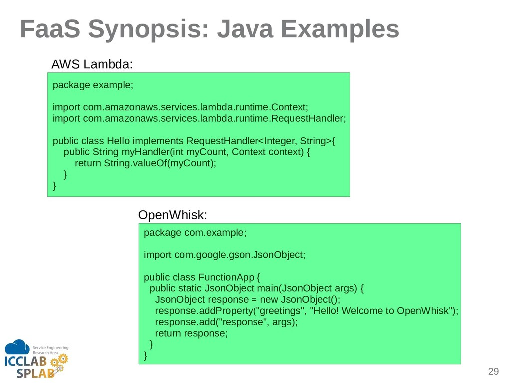 29 FaaS Synopsis: Java Examples pickige eximple...