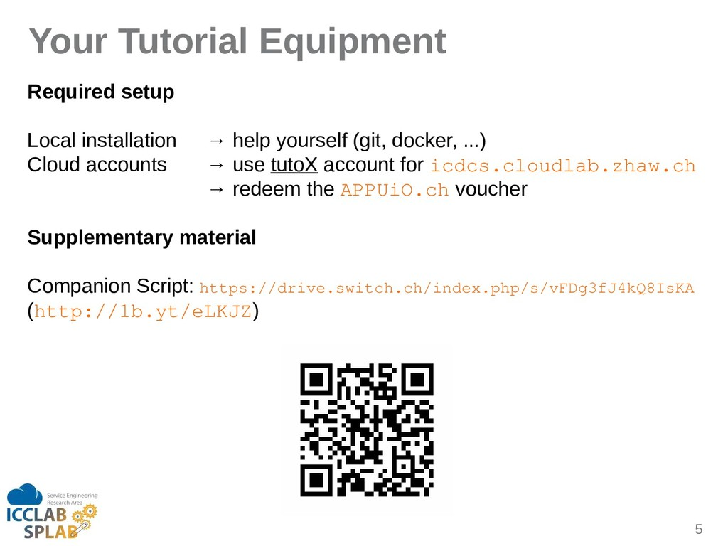 5 Your Tutorial Equipment Required setup Locil ...