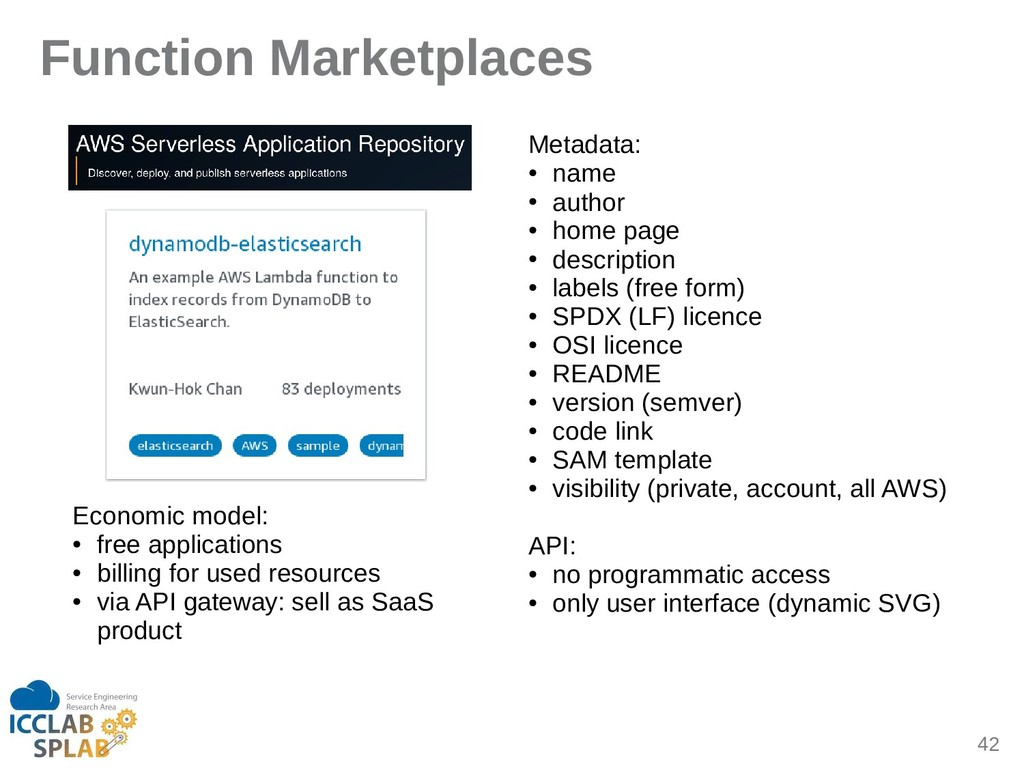 42 Function Marketplaces Economic model: ● free...