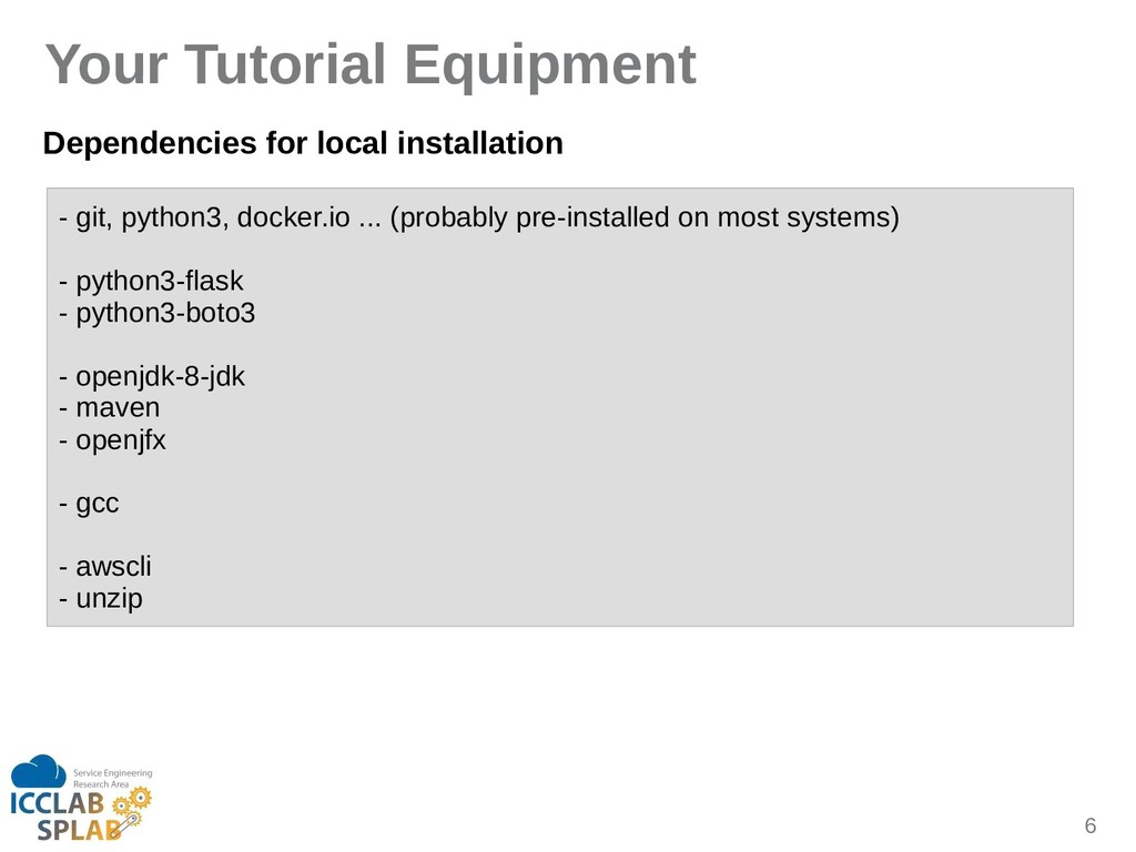 6 Your Tutorial Equipment Dependencies for loca...
