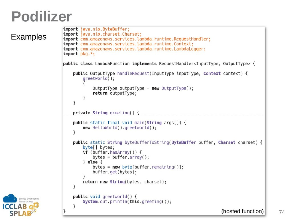 74 Podilizer Eximples (hosted function)