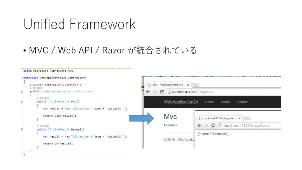 Unified Framework • MVC / Web API / Razor が統合され...