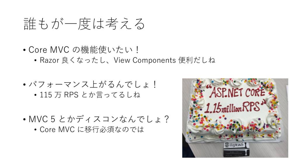 誰もが一度は考える • Core MVC の機能使いたい! • Razor 良くなったし、Vi...