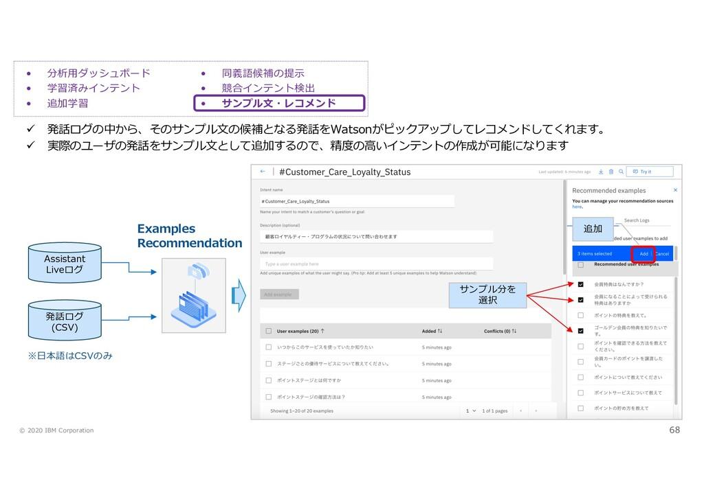 © 2020 IBM Corporation 68 • 同義語候補の提⽰ • 競合インテント検...