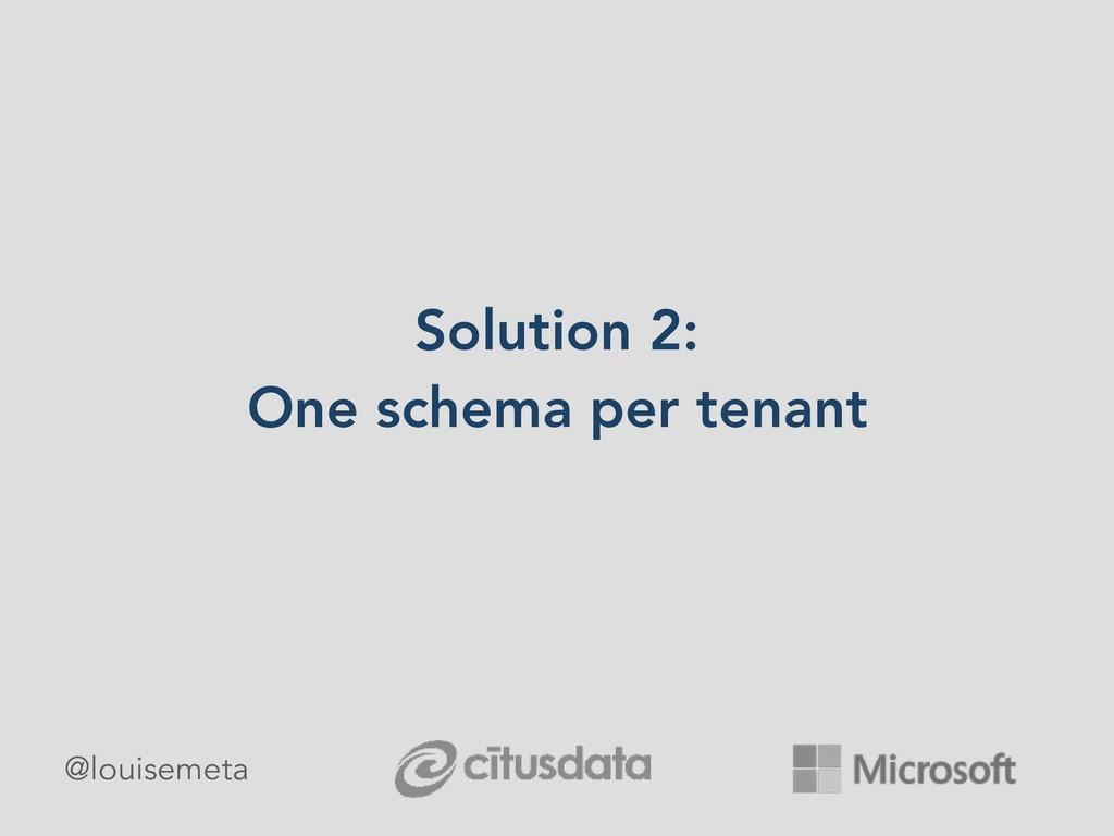 Solution 2: One schema per tenant @louisemeta