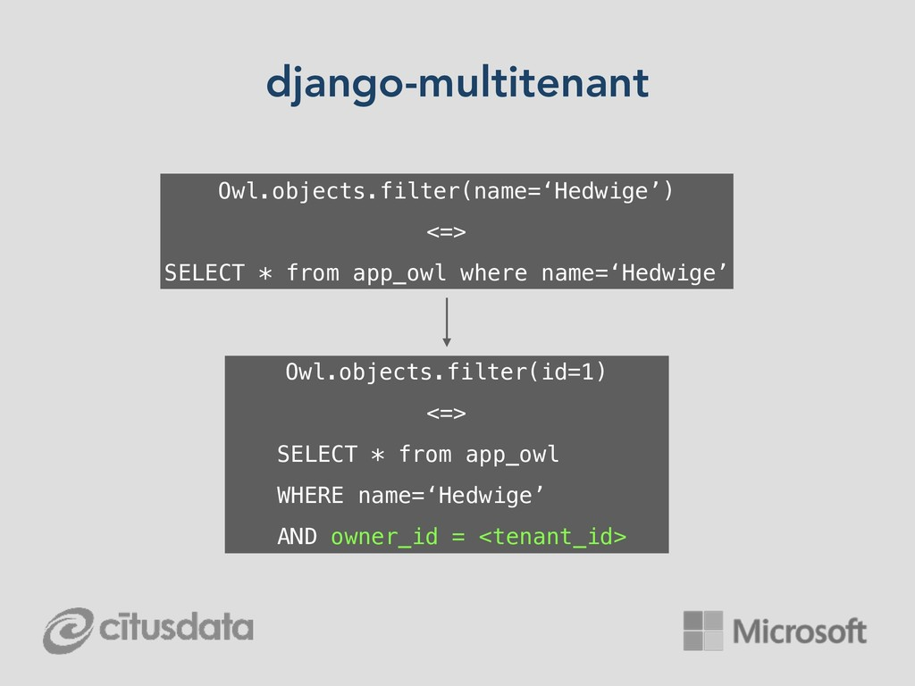 django-multitenant Owl.objects.filter(name='Hed...