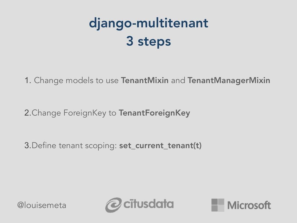 django-multitenant 3 steps 1. Change models to ...