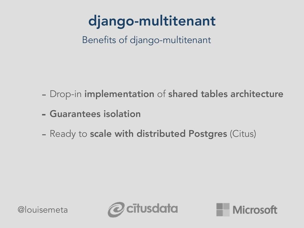 django-multitenant Benefits of django-multitena...