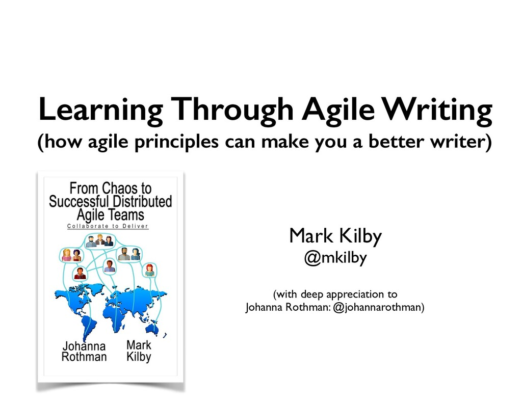 Learning Through Agile Writing (how agile princ...