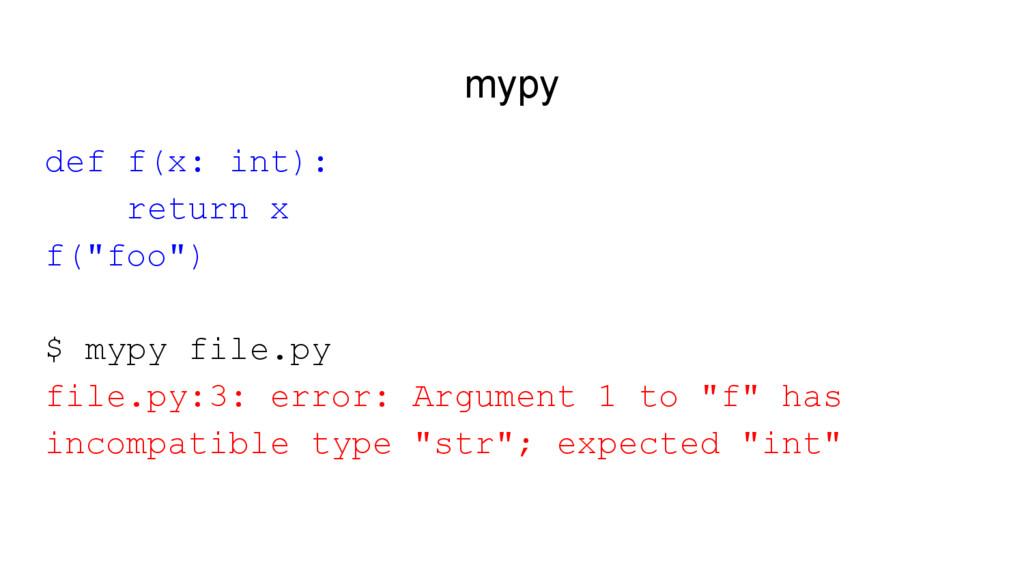 """mypy def f(x: int): return x f(""""foo"""") $ mypy fi..."""