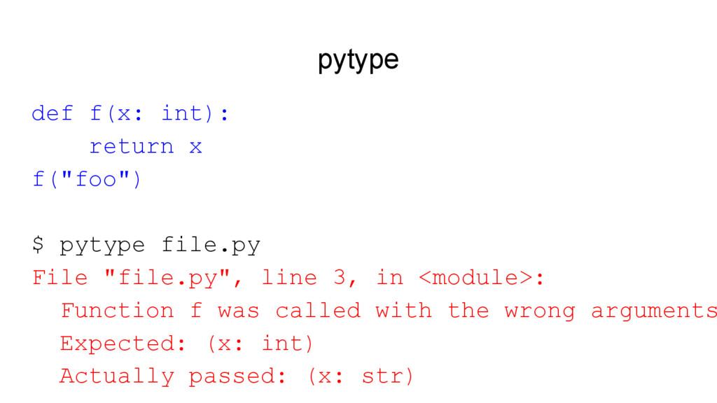 """pytype def f(x: int): return x f(""""foo"""") $ pytyp..."""