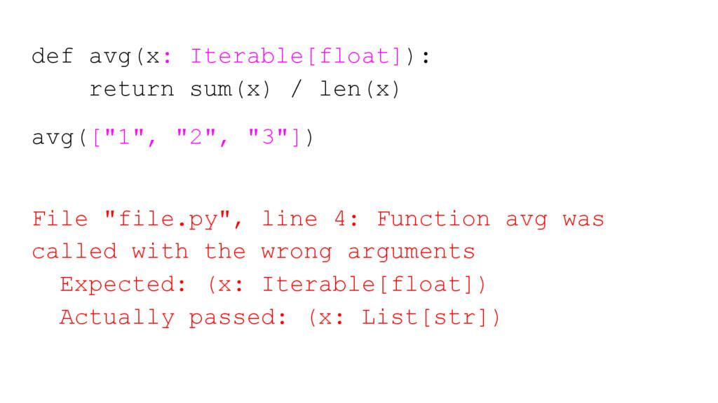 def avg(x: Iterable[float]): return sum(x) / le...