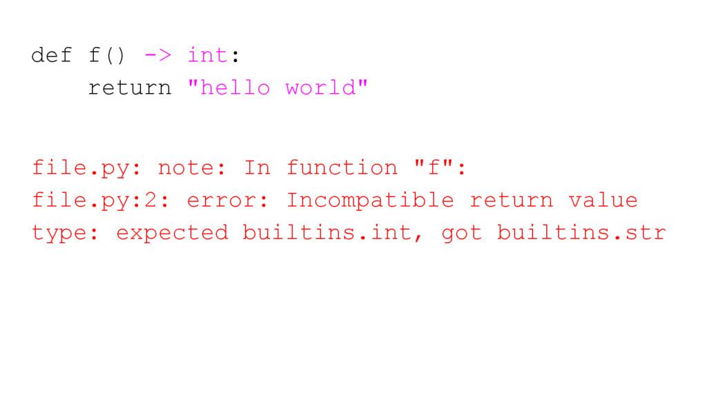 """def f() -> int: return """"hello world"""" file.py: n..."""