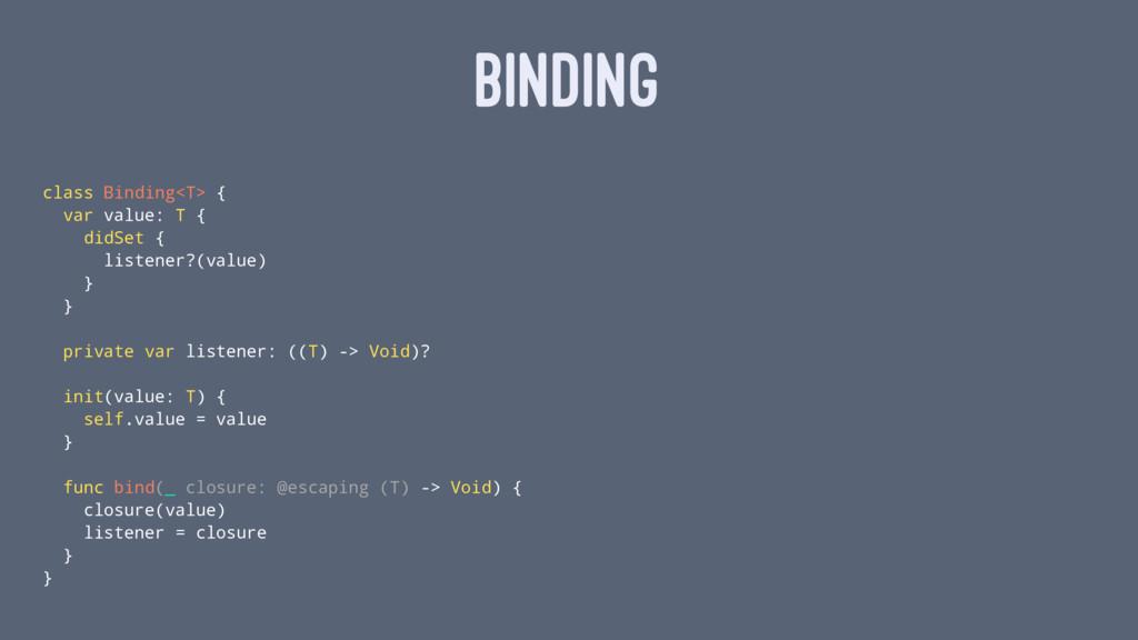 BINDING class Binding<T> { var value: T { didSe...