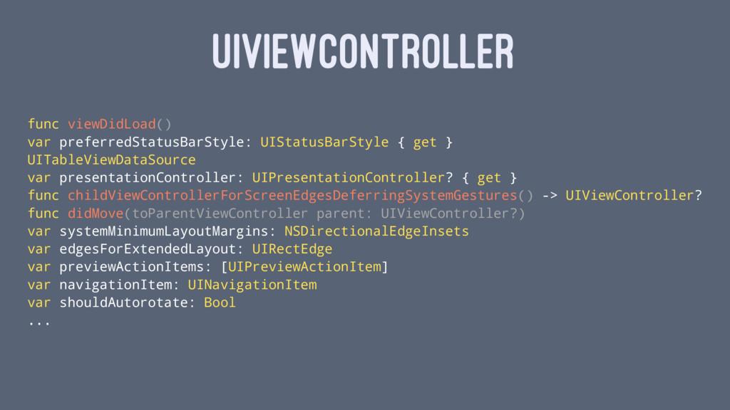 UIVIEWCONTROLLER func viewDidLoad() var preferr...