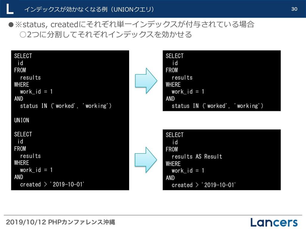 1)1ΧϯϑΝϨϯεԭೄ  インデックスが効かなくなる例(UNION...