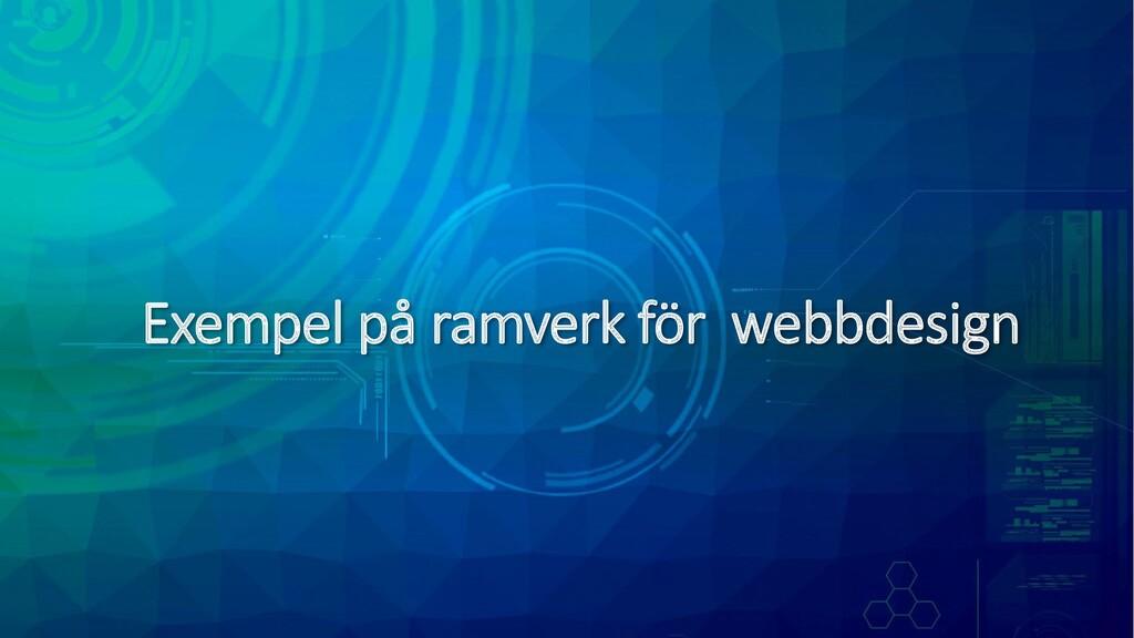 Exempel på ramverk för webbdesign