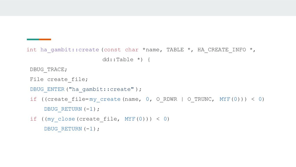int ha_gambit::create (const char *name, TABLE ...