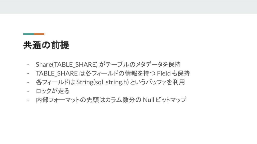 共通の前提 - Share(TABLE_SHARE) がテーブルのメタデータを保持 - TAB...