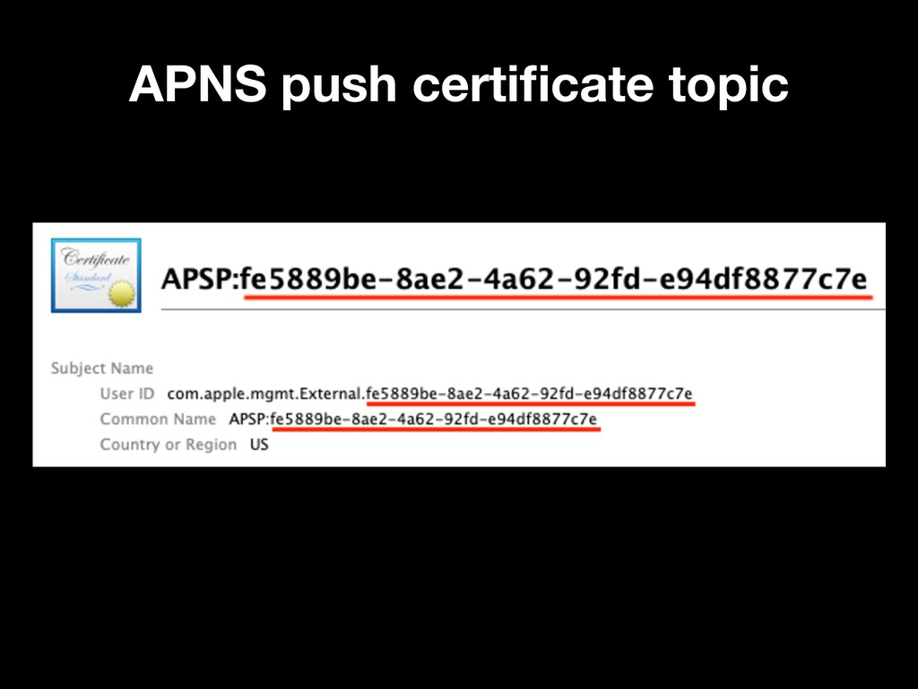 APNS push certificate topic