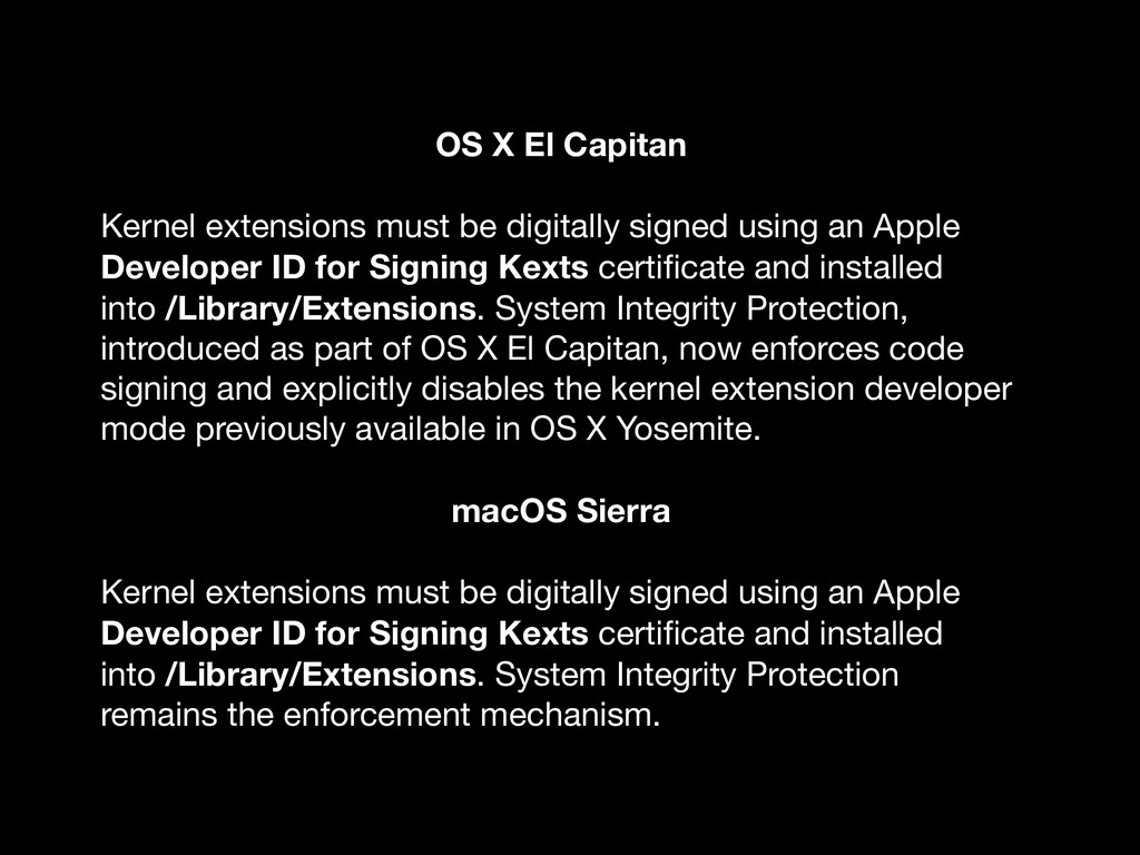 OS X El Capitan Kernel extensions must be digit...